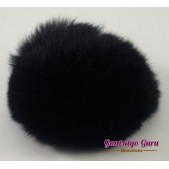 Faux Fur Pompom Black
