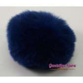 Faux Fur Pompom Navy