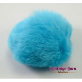 Faux Fur Pompom Sky Blue