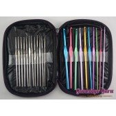 22-Pc. Aluminum and Steel Crochet Hook Set with Case