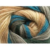 Ice Merino Gold Batik Teal Grey Shades Cream Camel
